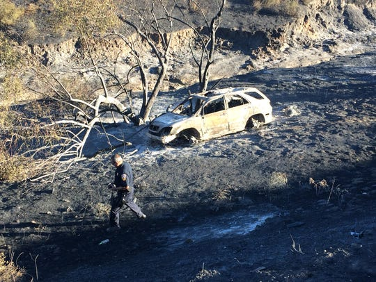 This car, seen destroyed in the Manzanita Fire, is