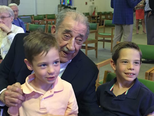 Great-grandsons Bryce, left, and Brady Catanella of