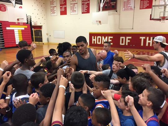 Detroit Pistons forward Tobias Harris during his basketball camp in New York on Thursday, June 29, 2017.