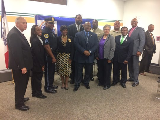 Leaders in law enforcement gathered during a ceremony