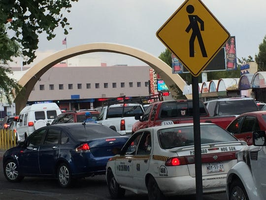 Vehicles stack up at a border crossing in downtown