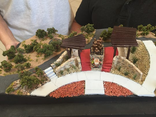A model shows the proposed Women Veterans Monument
