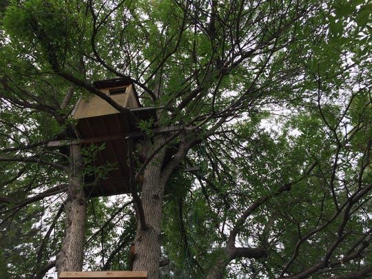Built 30 feet up in a tree, this little treehouse overlooks its whole neighborhood.