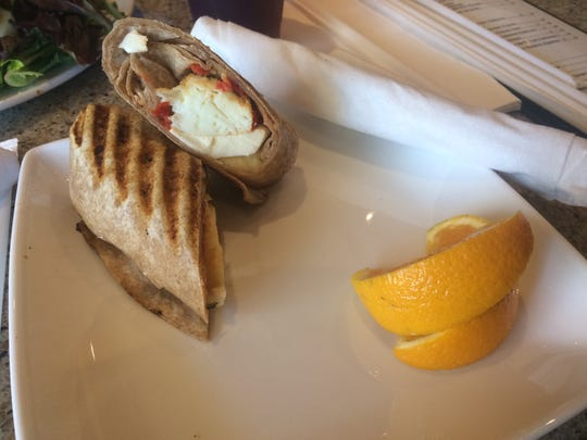 The caprese veggie wrap, made of egg whites, mozzarella and a whole-wheat wrap, is on the breakfast menu.