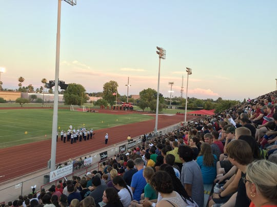 A few thousand attended the Drums Across the Desert marching band event at Mesa Community College on Monday evening on July 3, 2017.