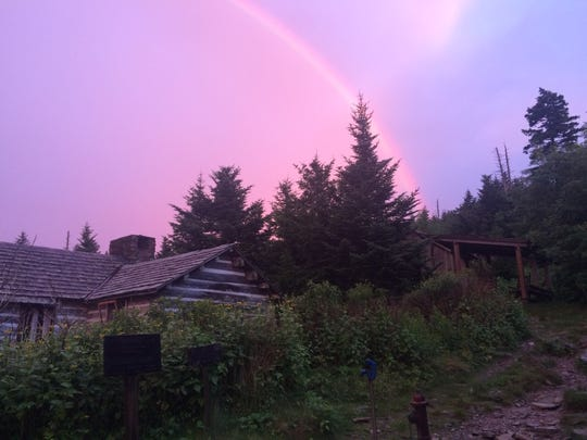 A rainbow appears over LeConte Lodge in Great Smoky Mountains National Park. The hike-in-only lodge is the highest elevation lodge in the Eastern United States.