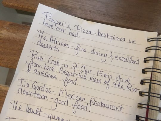 The Hewitts leave suggestions of places their guests should try while they are staying in the area.