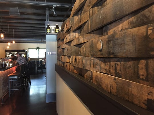 Beer barrel staves line the walls at Sahm's Ale House.