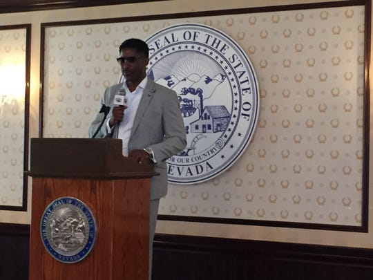 Nate Burleson speaks to the media Friday at the 49th annual Governor's Dinner.