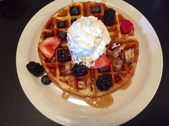 A Belgian waffle from Billy's High Hat Diner on June 10, 2017.