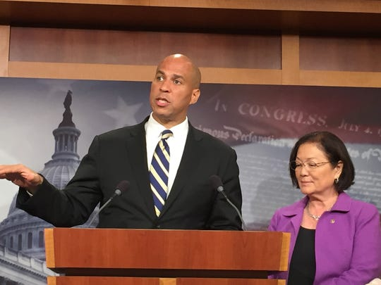 Sen. Cory Booker, D-N.J., and Sen. Mazie Hirono, a Democrat from Hawaii, discuss their bill that would block funding for President Trump's election commission.