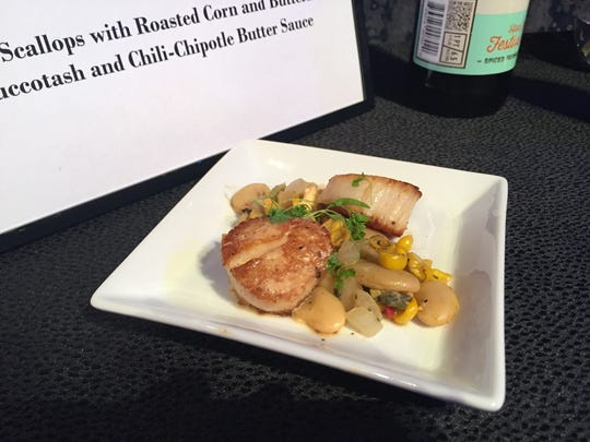 These seared scallops with roasted corn and butter bean succotash will be found in the new Coastal Eats kitchen.
