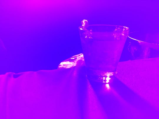 Disney hosted a media preview of the 2017 Epcot International Food and Wine Festival on July 14, 2017. Shown is one of the cool concoctions at the Light Lab. This drink features cotton candy. It glows in the dark and changes color in the light.