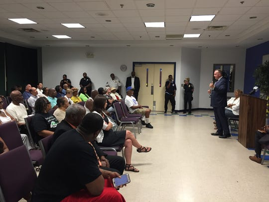 "Wilmington Police Chief Robert Tracy talks to city residents at ""Community Conversations with City Council"" on July 18."
