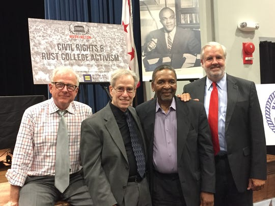 Charles Francis, from left, Larry Rubin, Frank Smith and Bill Luckett were panelists on a forum about Rust College, the oldest historically black college and university in Mississippi.