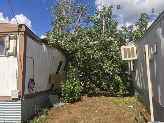 A look at the backside of a vacant mobile home after
