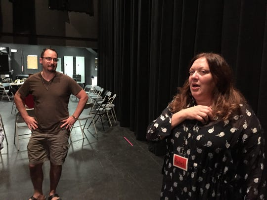 "Rachel Tenner, casting director for Ben Stiller's ""Escape at Dannemora,"" speaks backstage Saturday at the Strand Center for the Arts in Plattsburgh, New York."
