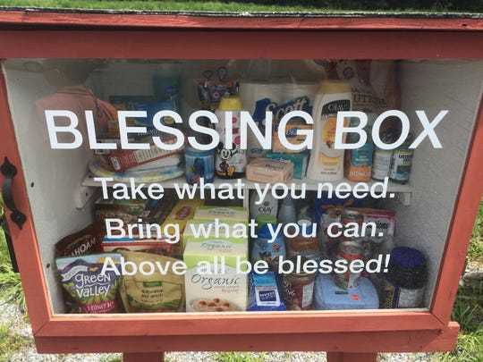 Parishioners of Bethany United Methodist Church in Berlin are free to stock the Blessing Box with non-perishable food items and personal hygiene items. Anyone in need is welcome to take what they want. Organizer Merrie McElrath expects that demand will be greater than supply, but her fellow parishioners are already dedicated  to maintaining the box.