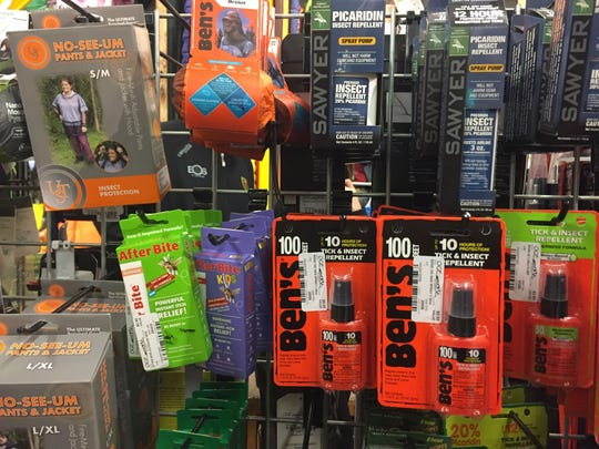 A variety of bug repellent products sold at Outdoor Gear Exchange in Burlington on July 24, 2017.