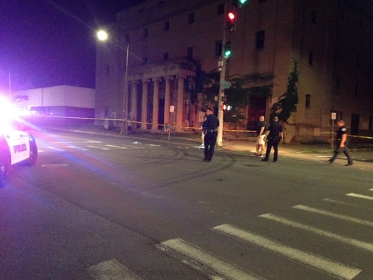 Binghamton police on the scene of a hit-and-run crash