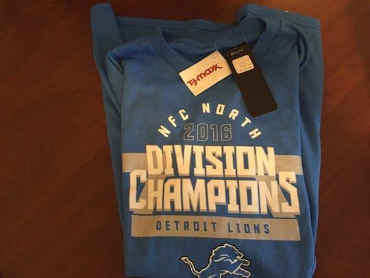 A Detroit Lions NFC North 2016 Division Champions shirt