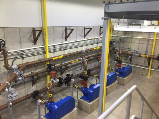 Pipes direct water through the new Choteau treatment plant.