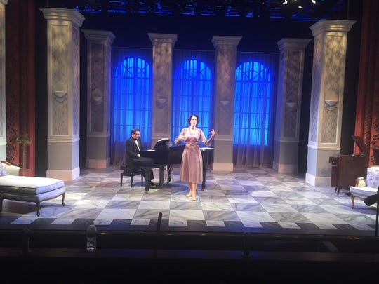 "Jonas Cohen, portraying Cosme McMoon, accompanies Paula Leggett Chase, portraying Florence Foster Jenkins, in New Harmony Theatre's closing show, ""Souvenir."""