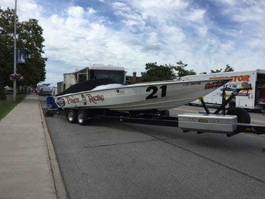 The powerboats are arriving in St. CLair. Pirate Racing was one of the early arrivals at about 11 a.m. Thursday