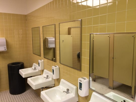 The Thomas Wolfe Auditorium bathrooms, originally office