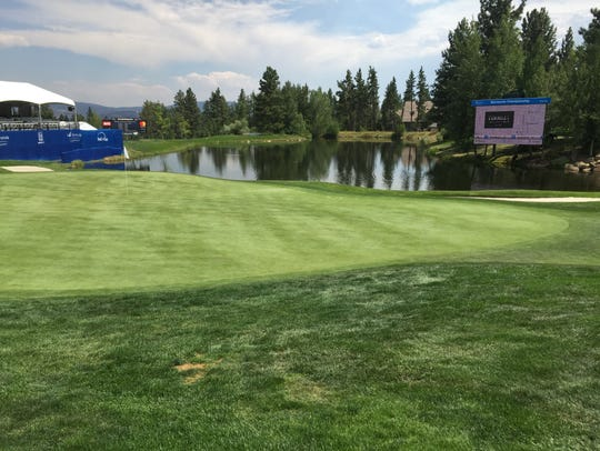 The 18th green at Montreux Golf & Country Club on Wednesday.
