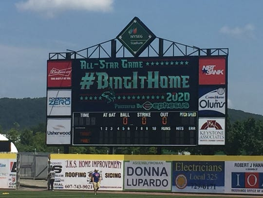 The scoreboard at NYSEG Stadium includes a message
