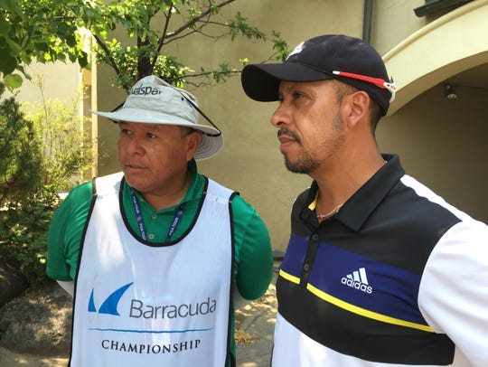 Miguel Angel Carballo, right is tied for second at