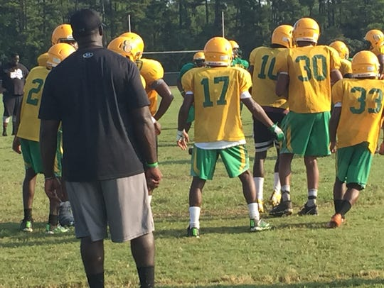 The Green Oaks defense prepares to run a play in Friday's