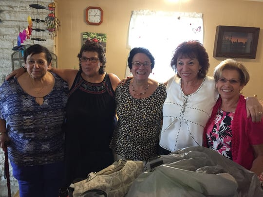Ellen Noble (second from right) with four of her sisters in a July 23 reunion.