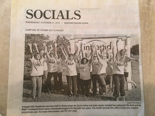 Tiffany Smith is pictured along with coworkers at Intrepid USA Healthcare Services in this newspaper clipping from October 2015. Tiffany Smith was a staunch supporter of anti-cancer efforts for many years before she succumbed to the disease in May 2017.