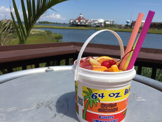At Macky's Bayside, enjoy views of the bay while sipping