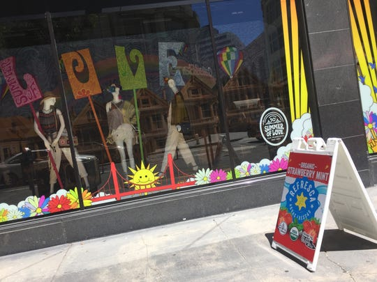 The shop near Union Square in San Francisco is one of the many downtown storefronts celebrating the gold anniversary of the Summer of Love.