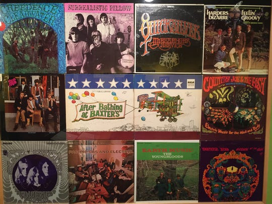 This montage of album covers by San Francisco rock bands from the 1960s is part of the Summer of Love exhibit at the San Francisco Public Library.