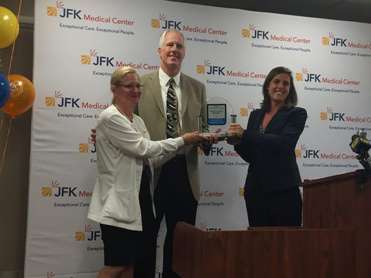 JFK Medical Center in Edison has been celebrating its 50th birthday all year with various events and programs. On Monday, JFK Medical Center was presented with Healthgrades designation of the 2017 Labor and Delivery Excellence Award. Alicia Caroll of Healthgrades presented Dr. Wayne Steinbeck and Pamela Christy with the award.