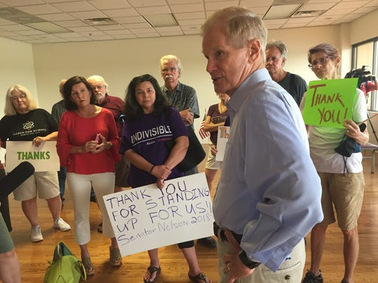 U.S. Sen. Bill Nelson addressed 30 ACA supporters at an unscheduled rally at the Tallahassee International Airport, Tuesday