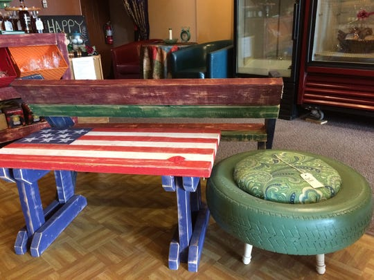Items like tables and benches made from pallets and