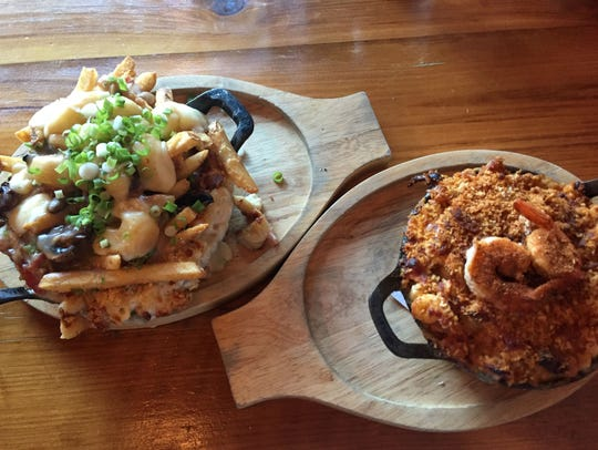 Poutine mac and cheese on the left and jumbalaya mac