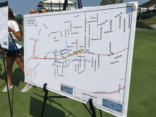 Traffic patterns heading to the concert at the Dick's Sporting Goods Open.