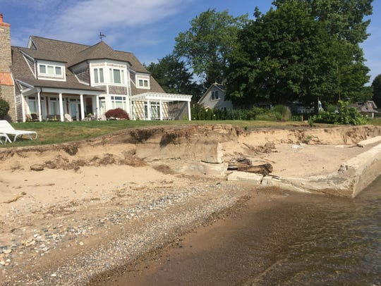 Erosion has uncovered the foundation of the boathouse