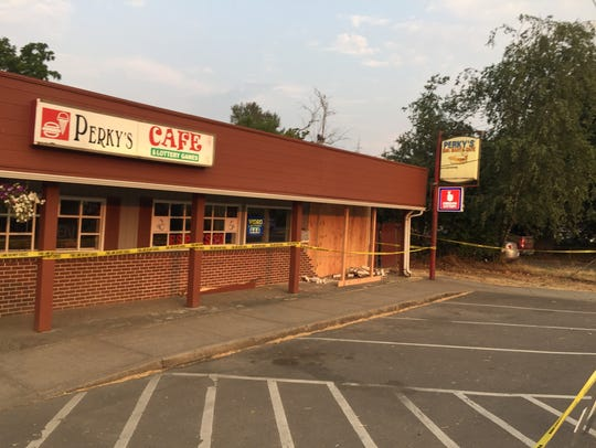 Perky's Cafe in Turner is boarded up and closed after