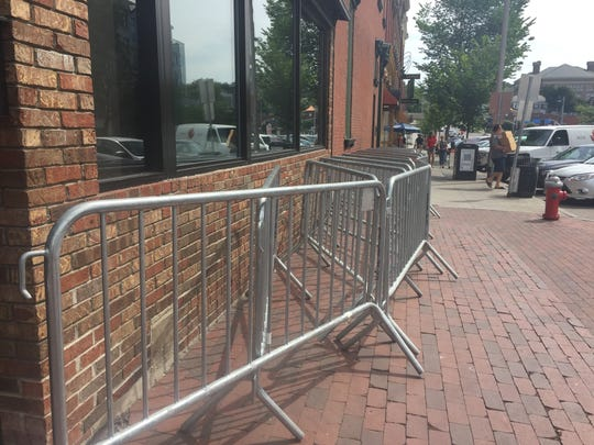 Police are storing barricades on the corner of Church