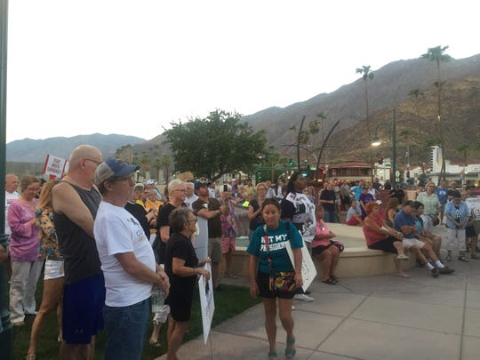 Valley residents attended a vigil in Palm Springs Sunday intended to express solidarity with those who were killed or injured in Charlottesville, Virginia Saturday.