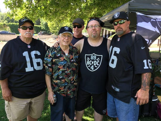 Some of the Reno-area Oakland Raiders fans forming a team fan club. Left to right: Mike Dunn Sr., Ralph McMullen, Steve Willard, Willie Puchert, and Mike Dunn Jr.