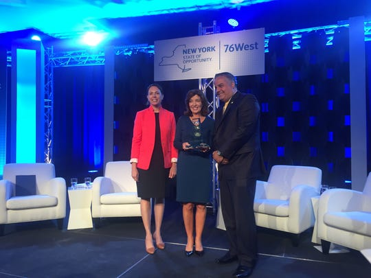 From left, Alicia Barton, president and CEO of the New York State Energy Research and Development Authority; Lt. Gov. Kathy Hochul; and Binghamton Mayor Richard David.
