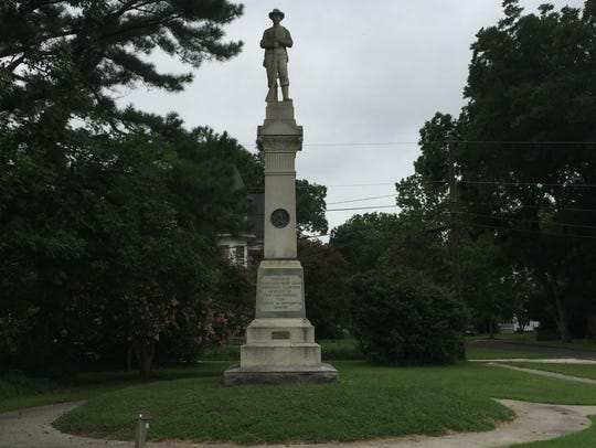 The Confederate monument in Parksley, Virginia on Wednesday,